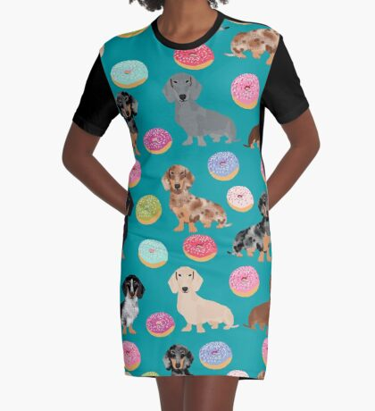 Dachshund dog breed donuts doughnuts food doxie dachsie pet friendly pattern Graphic T-Shirt Dress