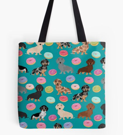 Dachshund dog breed donuts doughnuts food doxie dachsie pet friendly pattern Tote Bag