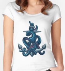 Octopus tentacles and anchor. Vintage travel print. Women's Fitted Scoop T-Shirt