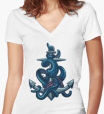 Octopus tentacles and anchor. Vintage travel print. Women's Fitted V-Neck T-Shirt