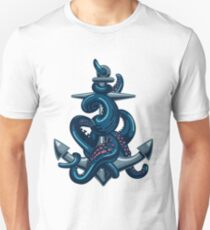 Octopus tentacles and anchor. Vintage travel print. Unisex T-Shirt