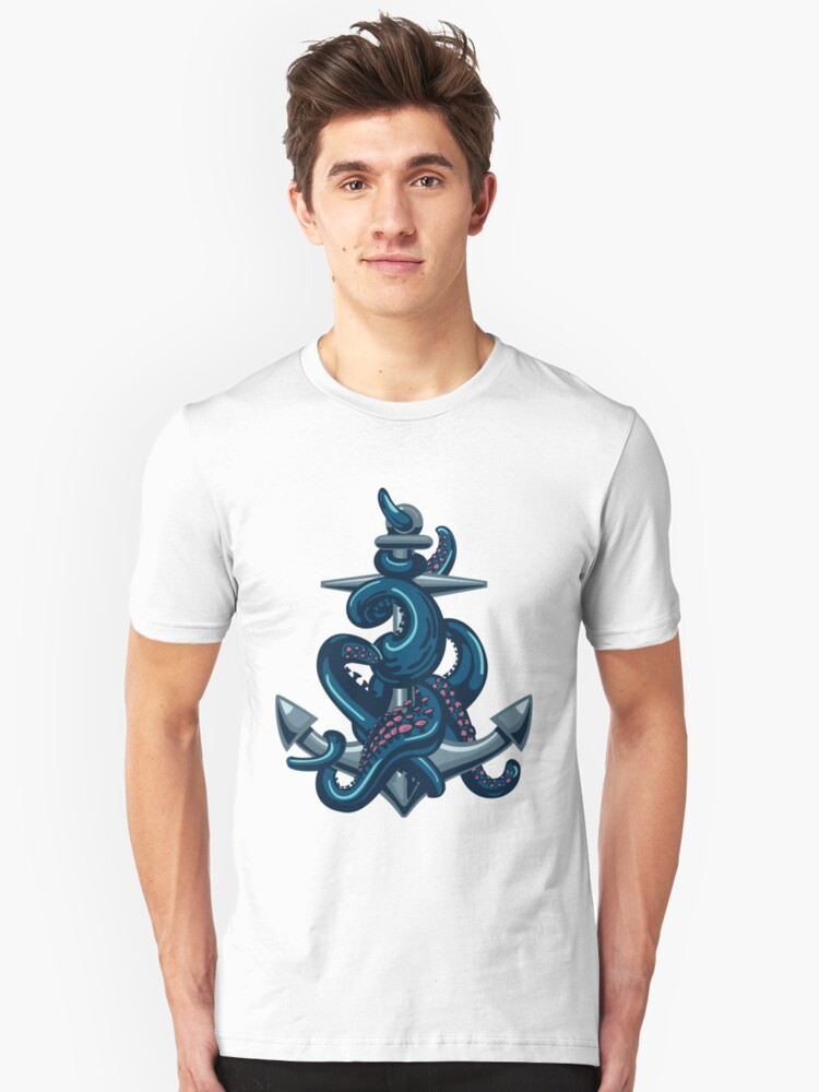 Octopus tentacles and anchor. Vintage travel print. Unisex T-Shirt Front
