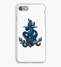 Octopus tentacles and anchor. Vintage travel print. iPhone Case/Skin