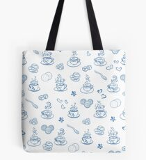 Tea time blue on white background  Tote Bag