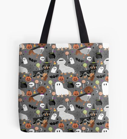 Dachshund dog breed halloween dog costume doxie dachsie pet friendly pattern Tote Bag