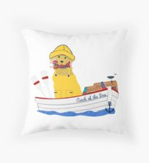 Nautical Preppy Golden Retriever Aboard The Catch of the Day Throw Pillow
