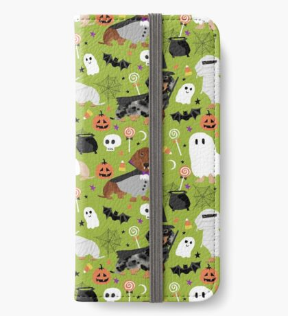 Dachshund dog breed halloween dog costume doxie dachsie pet friendly pattern iPhone Wallet
