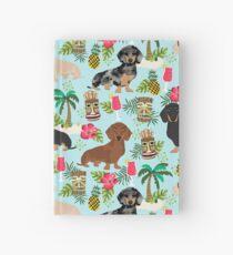 Dachshund dog breed hawaii tiki tropical doxie dachsie pet friendly pattern Hardcover Journal