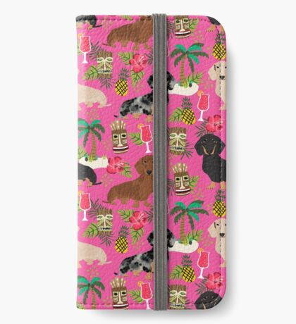 Dachshund dog breed hawaii tiki tropical doxie dachsie pet friendly pattern iPhone Wallet