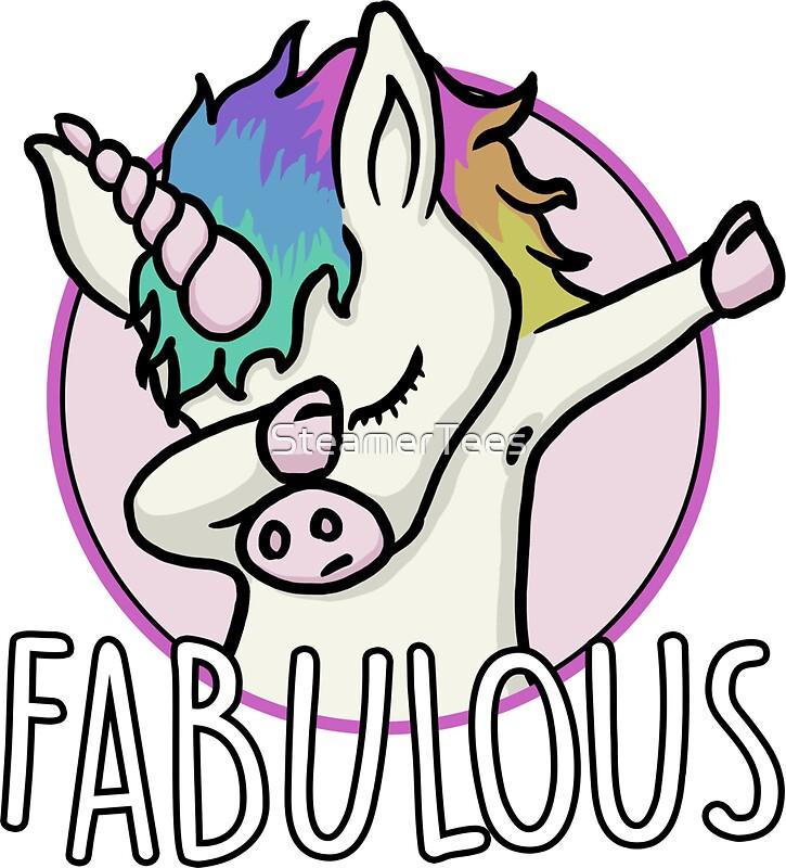 Fabulous cute dabbing unicorn by steamertees