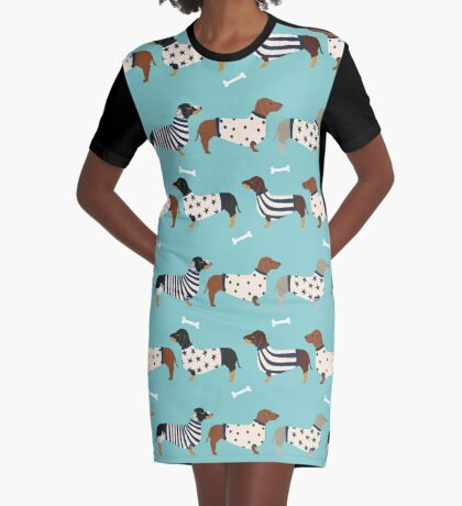 Dachshund dog breed weener dog sweater doxie dachsie pet friendly pattern Graphic T-Shirt Dress