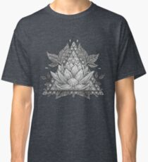 Grey Lotus Flower Geometric Design Classic T-Shirt