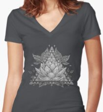 Grey Lotus Flower Geometric Design Women's Fitted V-Neck T-Shirt