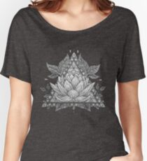 Grey Lotus Flower Geometric Design Women's Relaxed Fit T-Shirt