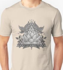 Grey Lotus Flower Geometric Design T-Shirt