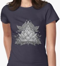 Grey Lotus Flower Geometric Design Women's Fitted T-Shirt