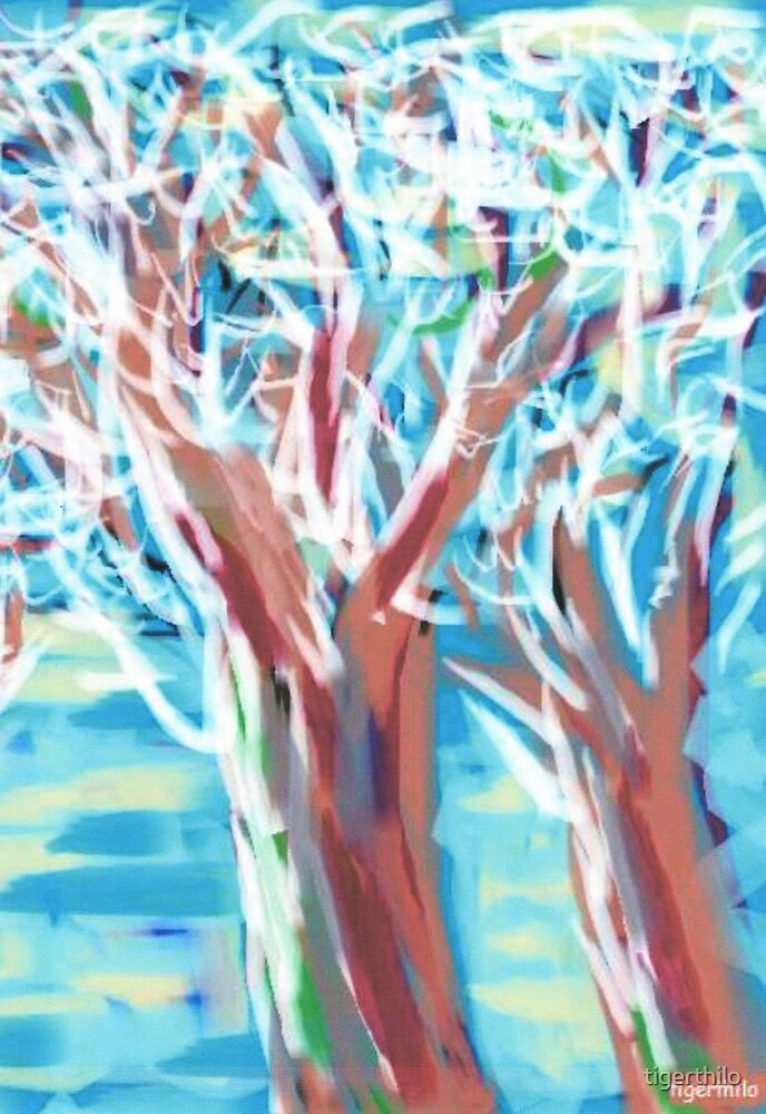 1511 - Two Snowy Trees On A Sunny Day by tigerthilo