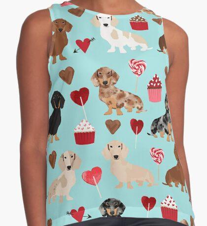 Dachshund dog breed weener dog valentine cupcakes  doxie dachsie pet friendly pattern Sleeveless Top