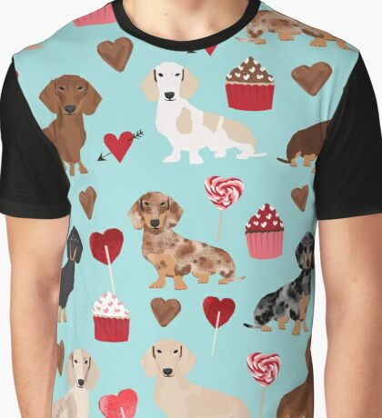 Dachshund dog breed weener dog valentine cupcakes  doxie dachsie pet friendly pattern Graphic T-Shirt