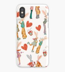 Love story of funny retro rabbits iPhone Case