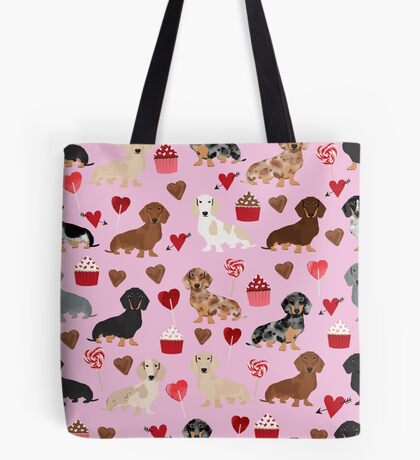 Dachshund valentine heart cupcakes dog breed dachsie doxie weener dogs Tote Bag