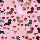 Dachshund valentine heart cupcakes dog breed dachsie doxie weener dogs by PetFriendly