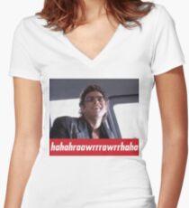 Jeff Goldblum Laugh  Women's Fitted V-Neck T-Shirt