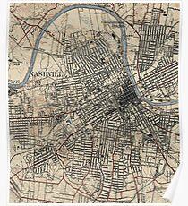 Vintage Map of Nashville Tennessee (1929) Poster