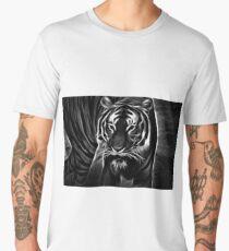 tiger, glowing tiger, black and white Men's Premium T-Shirt