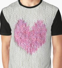 pink knitted heart Graphic T-Shirt