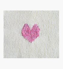pink knitted heart Photographic Print