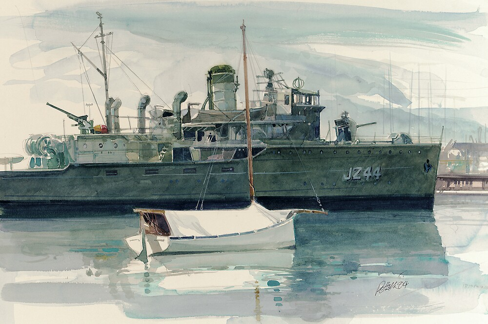 HMAS Castlemaine at Williamstown Vic by Ray Pethick