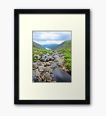 The upper lake, Glendalough viewed from above the waterfall Framed Print