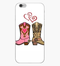 Cowboy Boots and Cowgirl Boots Illustrated Shirt iPhone Case