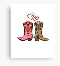 Cowboy Boots and Cowgirl Boots Illustrated Shirt Canvas Print