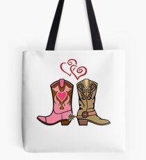 Cowboy Boots and Cowgirl Boots Illustrated Shirt Tote Bag