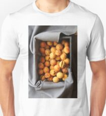 ripe apricots in wooden box Unisex T-Shirt