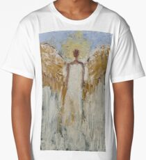 Guardian Angel Painting Blue White Angel of Light for Christmas  Long T-Shirt