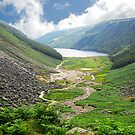 The upper lake from above the miners village, Glendalough, Ireland by David Carton