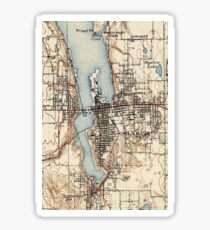 Vintage Karte von Olympia Washington (1934) Sticker