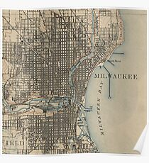 Vintage Milwaukee Map Posters Redbubble - Vintage milwaukee map
