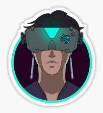 Circle Goggle Girl Sticker