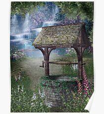 Waterfall Wishing Well Poster