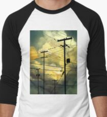 green sky telephone wires T-Shirt
