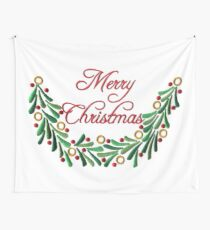 Merry Christmas Red Green Holly Needlepoint Wall Tapestry