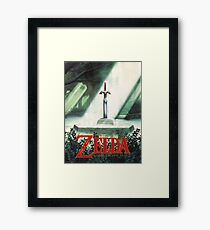 The Legend of Zelda, A Link To The Past - Sword in Stone Poster Recreated Framed Print
