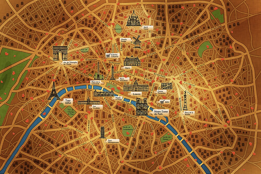Paris Map by vladstudio