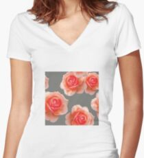 Blushing Roses Pattern Women's Fitted V-Neck T-Shirt