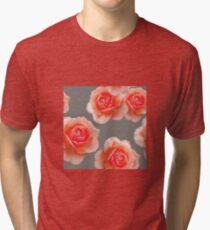 Blushing Roses Pattern Tri-blend T-Shirt