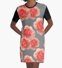 Blushing Roses Pattern Graphic T-Shirt Dress